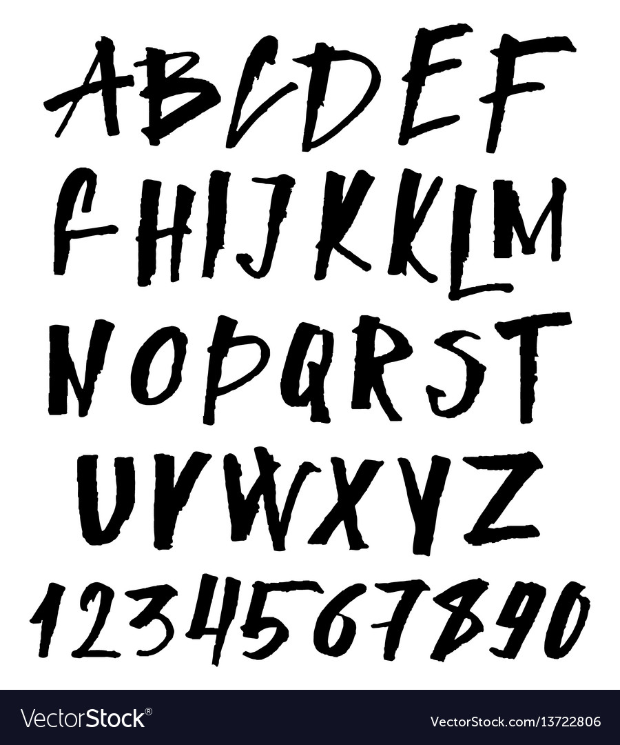 Hand drawn brush font uppercase and lowercase
