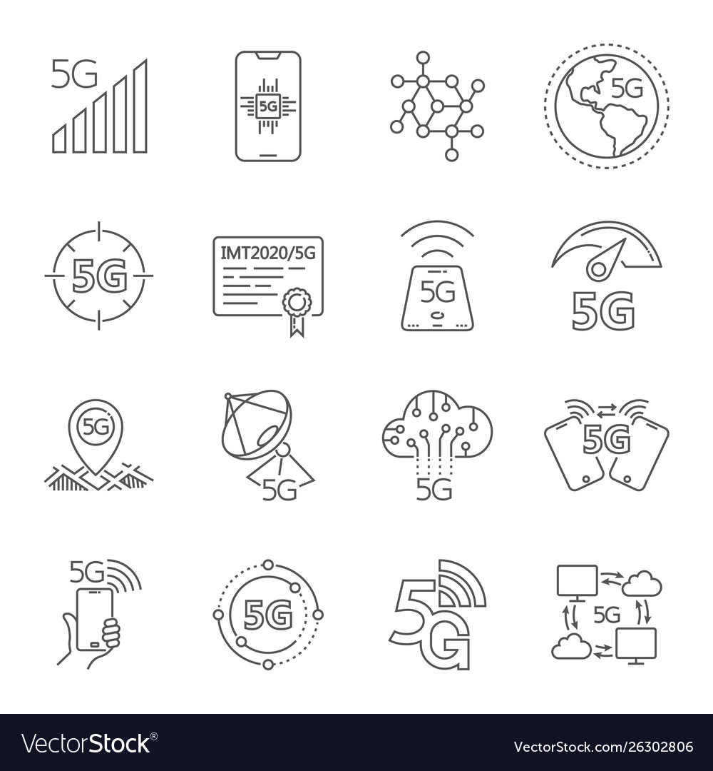 Icons set on theme 5th generation 5g mobile