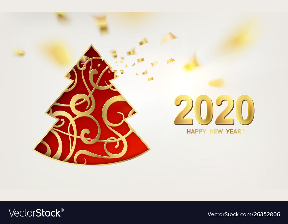 2020 New Christmas Merry christmas and happy new year 2020 card Vector Image