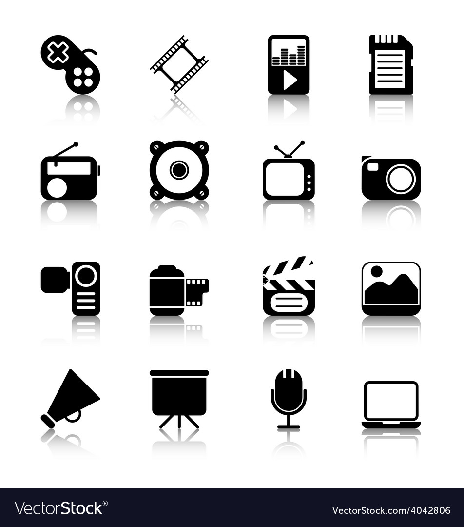 Multimedia Icons with reflection