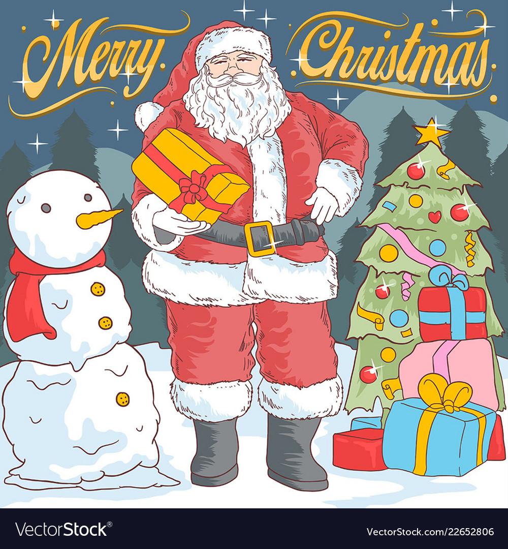 Santa claus and snow ball