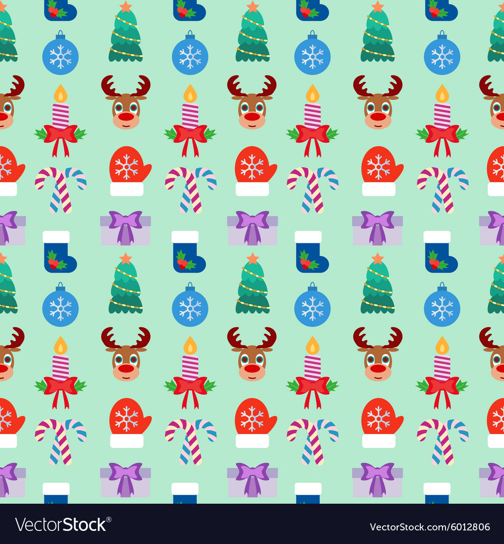 Seamless Christmas colorful background Flat design