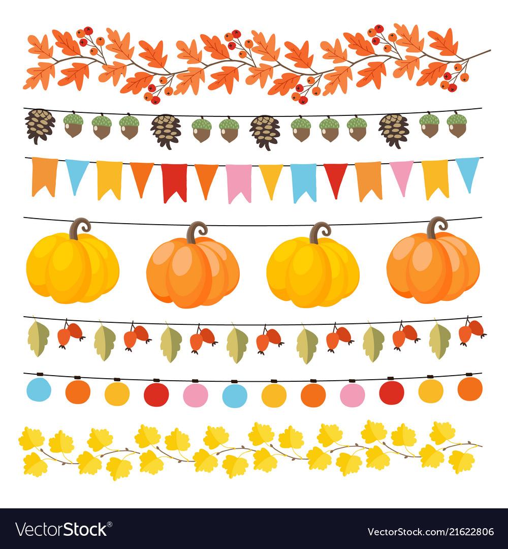 Set cute autumn fall garlands with lights