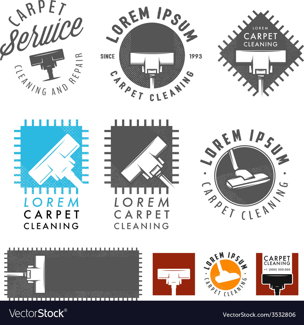 Set of retro carpet cleaning labels and emblems