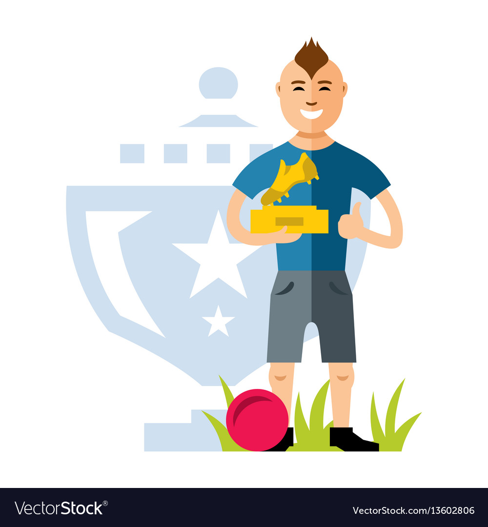 Soccer player with award at hands