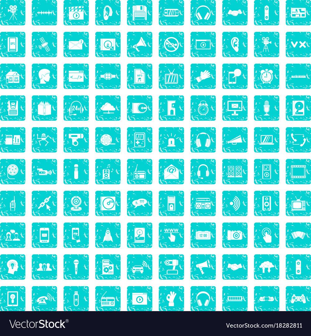 100 audio icons set grunge blue