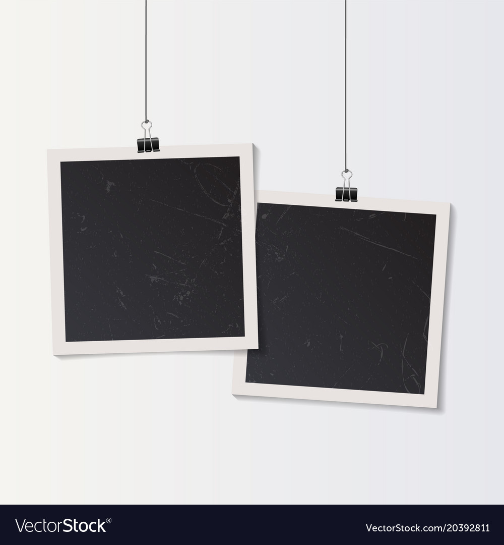 Blank retro vintage photo frame set hanging on a vector image