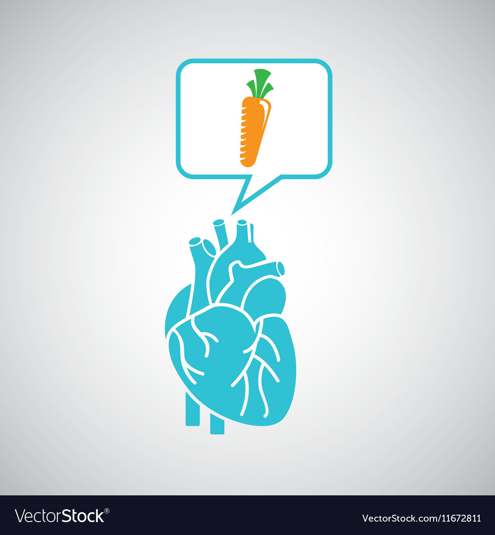 Blue heart fresh carrot icon graphic vector image