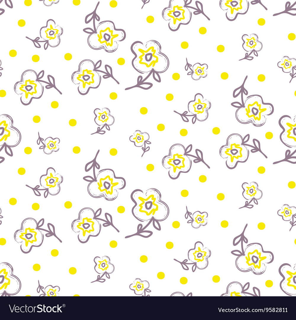 Brush stroke seamless yellow flowers pattern