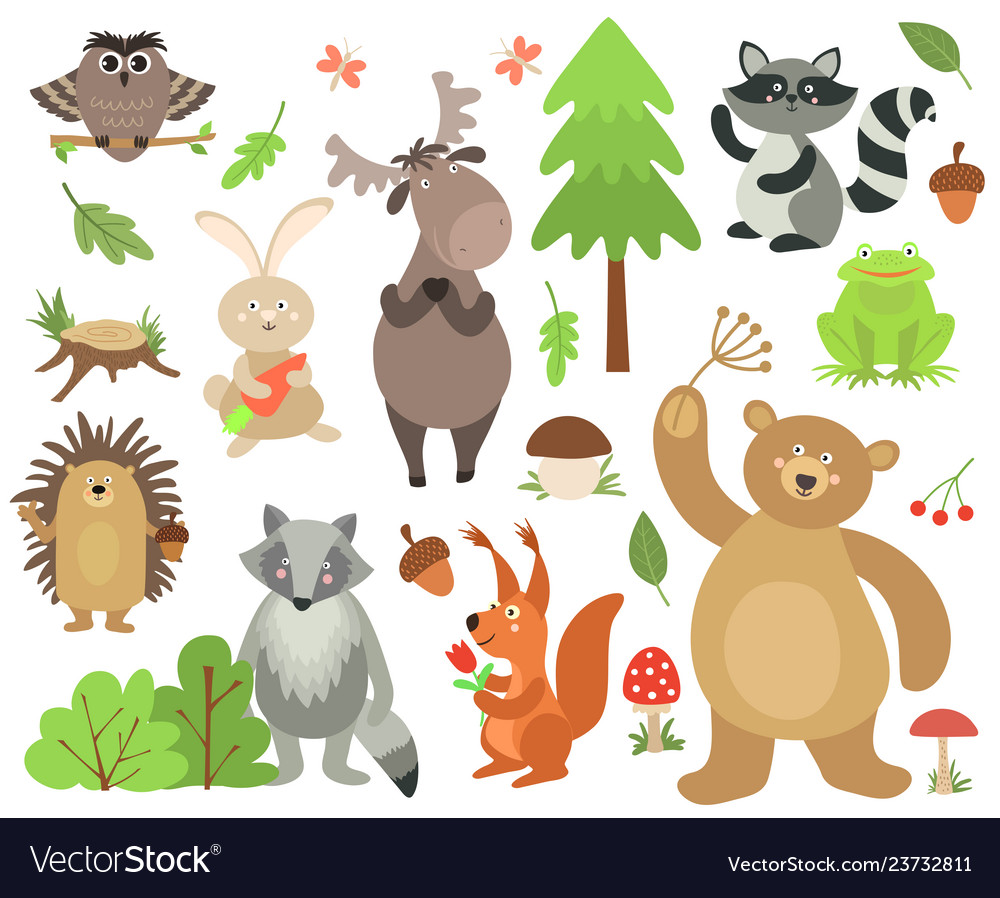 Cartoon forest animals elk owl hare raccoon