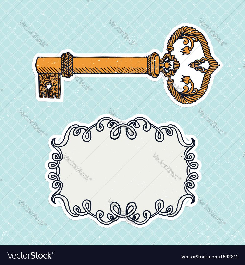 Decorative vintage key on checked background