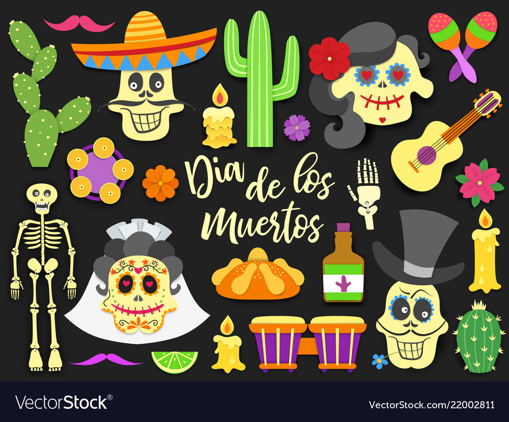 Dia de los muertos day dead traditional vector