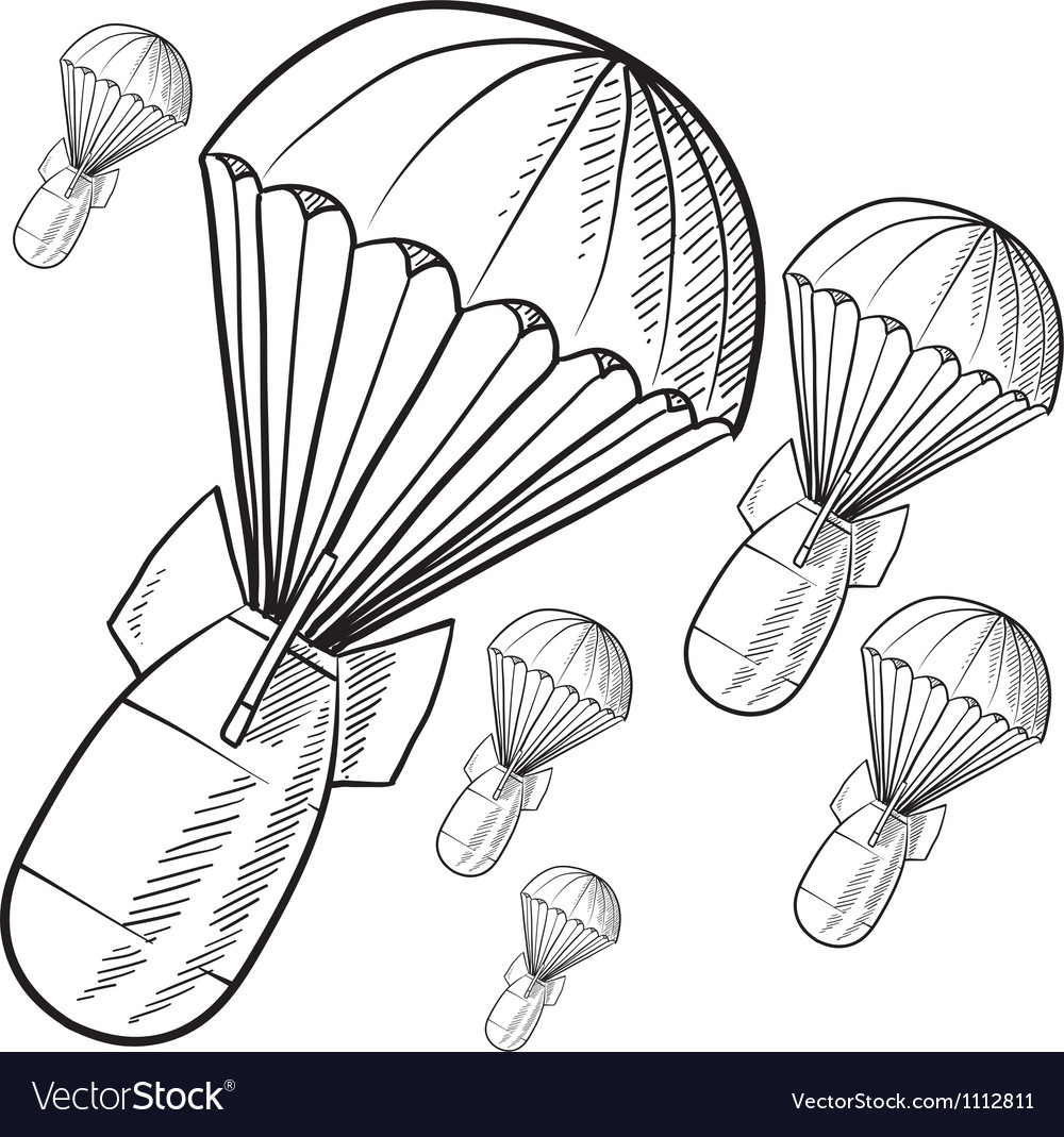Doodle bombs parachute vector image
