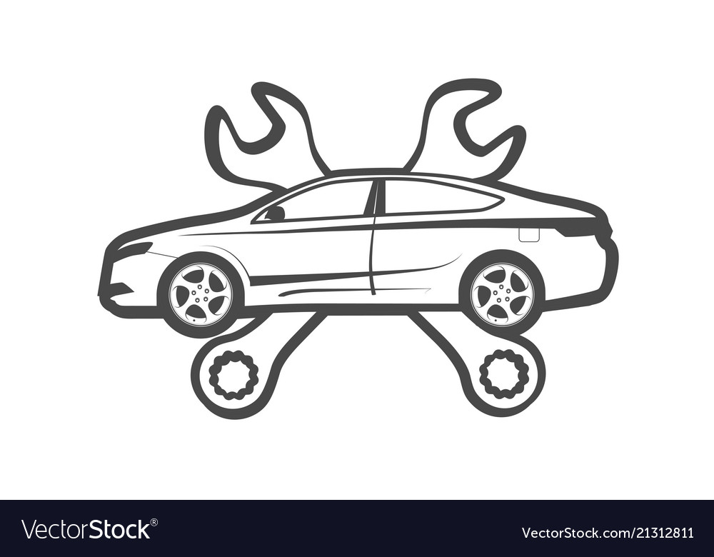 Emblem of auto repair service as coat of arms