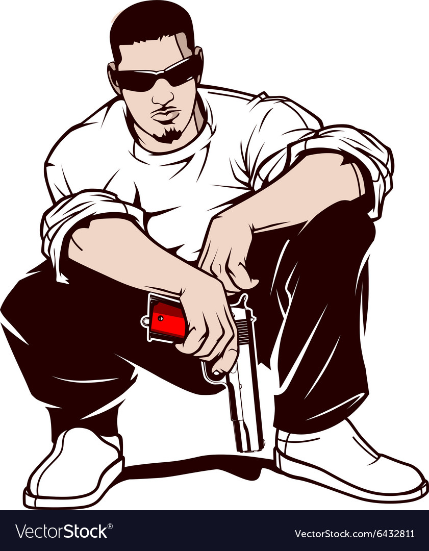 gangster with a gun royalty free vector image vectorstock rh vectorstock com gangster cartoon tattoos gangster cartoon images