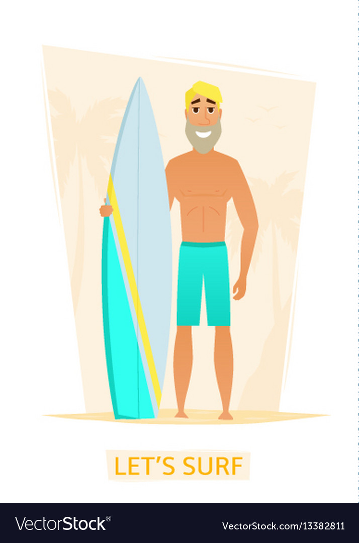 Handsome surfer with surf board on beach