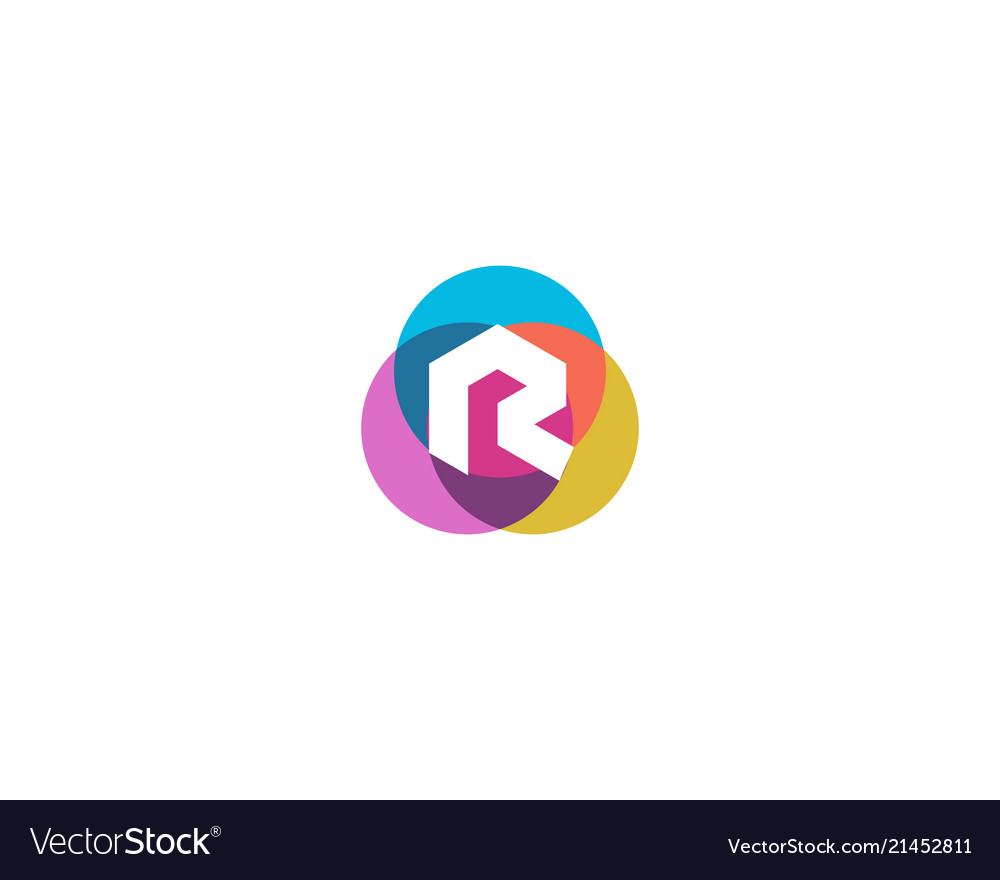 Letter r logo design colorful circles overlay