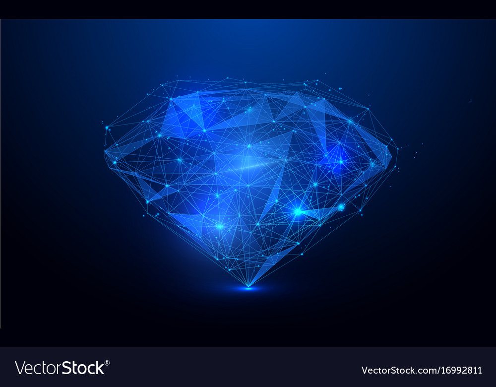 Low polygon diamond wireframe mesh background vector image