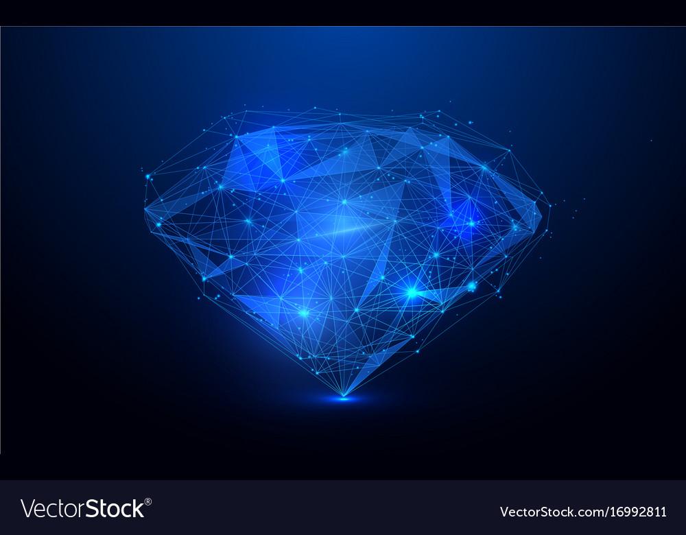 Low polygon diamond wireframe mesh background