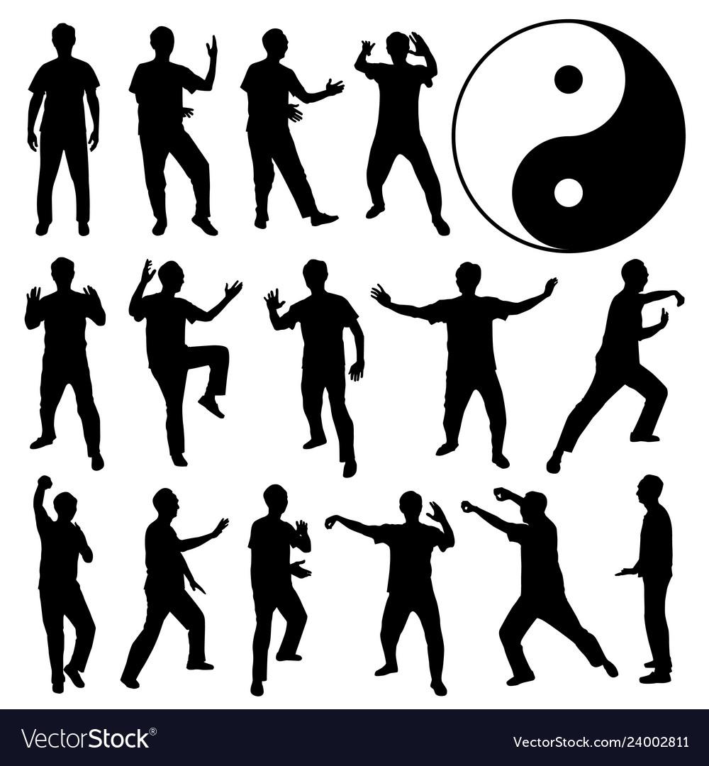 Martial art kung fu self defense a set of human