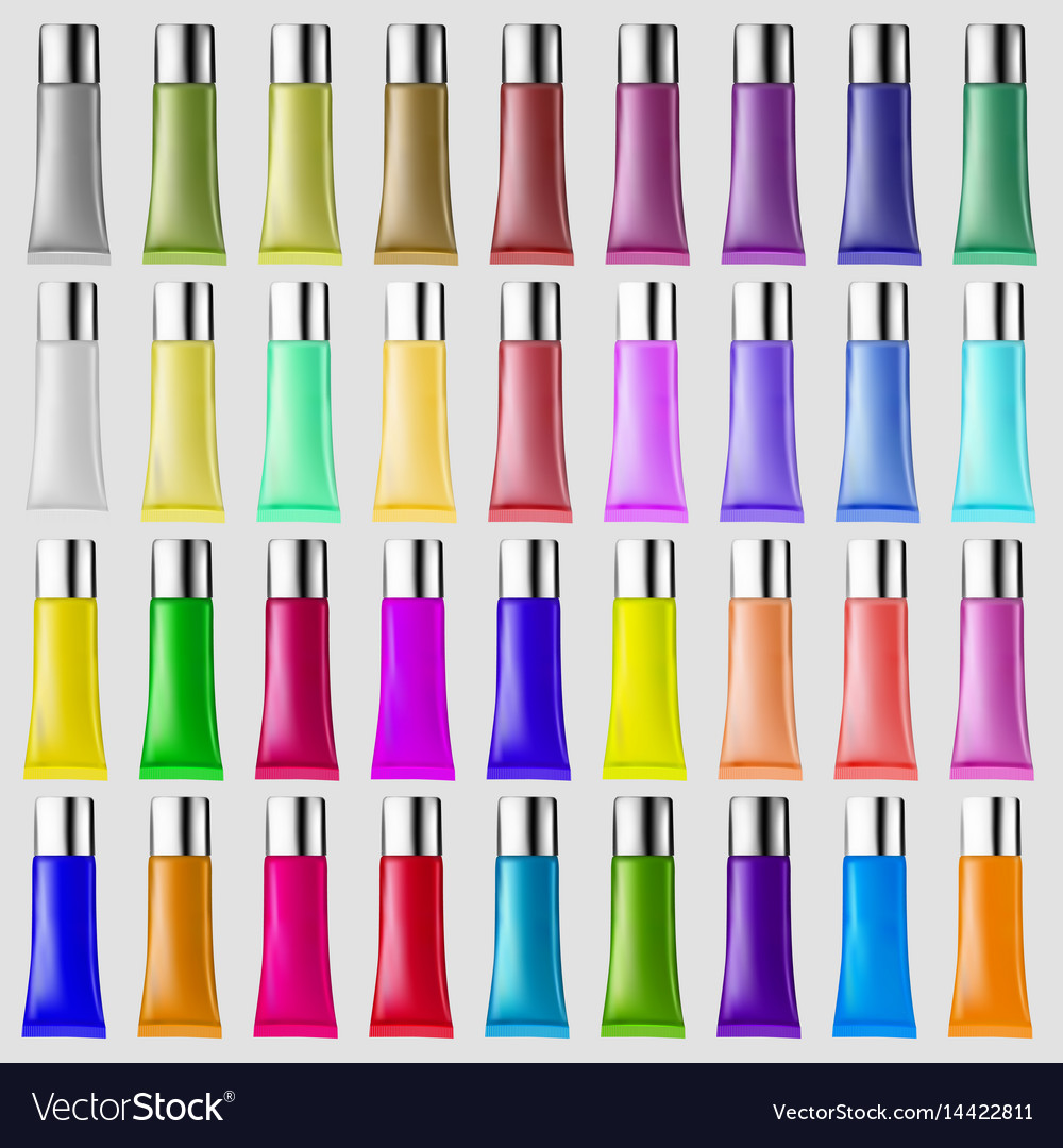 Set of plastic tubes of different colors for
