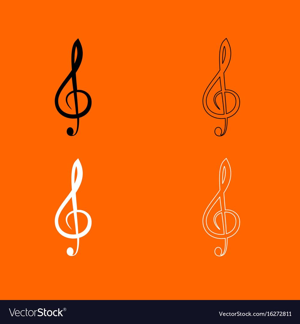 Treble clef black and white set icon vector image