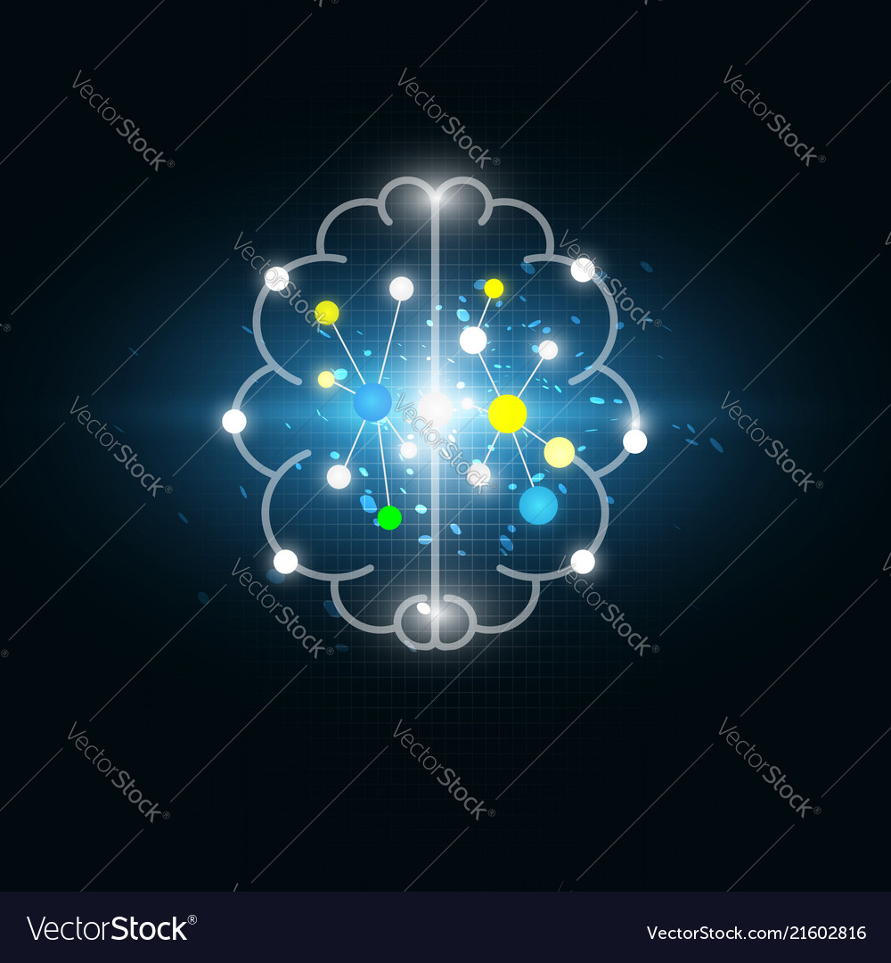 Abstract digital electric brain science background