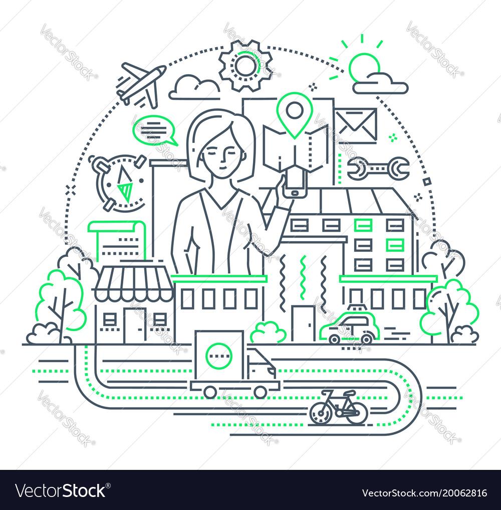 Businesswoman - modern line design style vector image