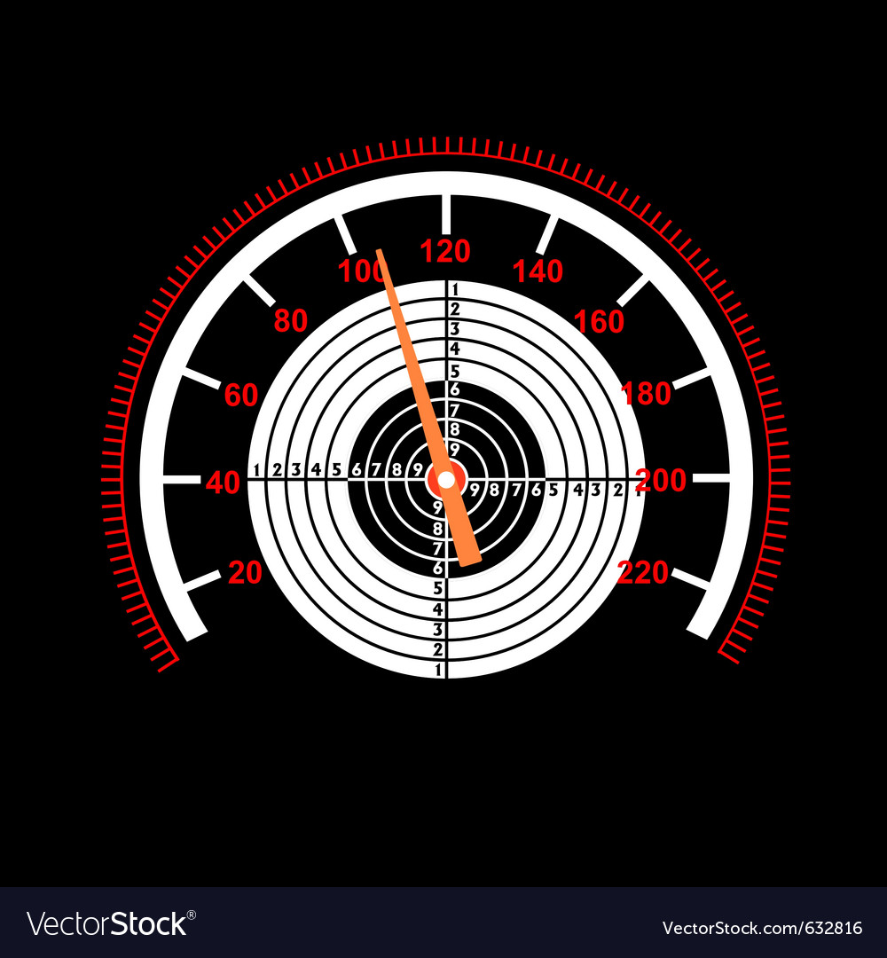 Car speedometer with a target in the middle