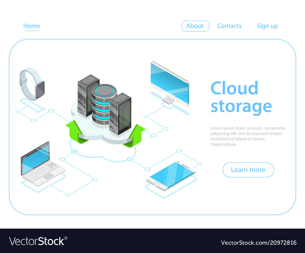 Cloud storage flat isometric concept