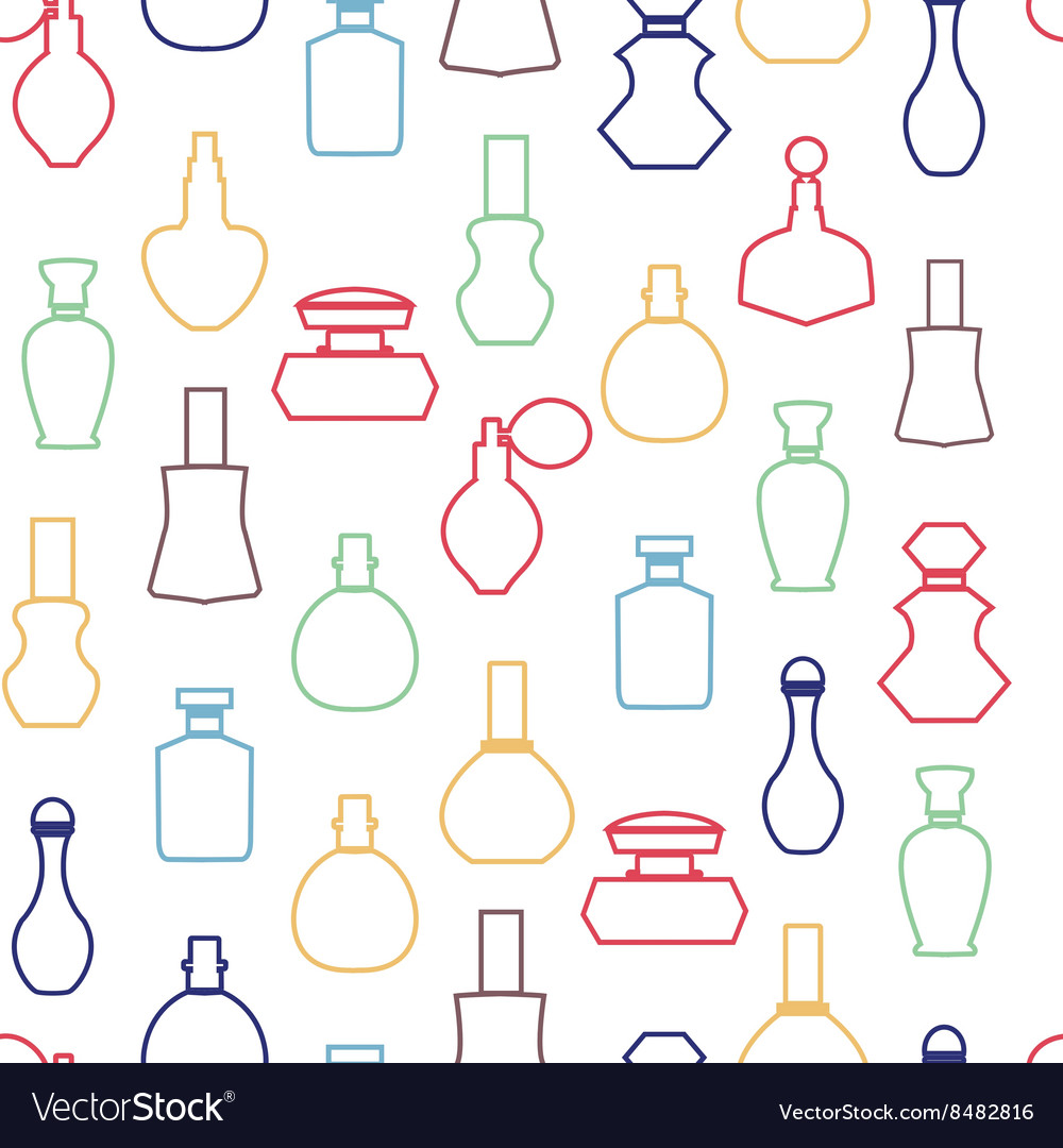 Collection Cosmetics Perfume Bottles vector image