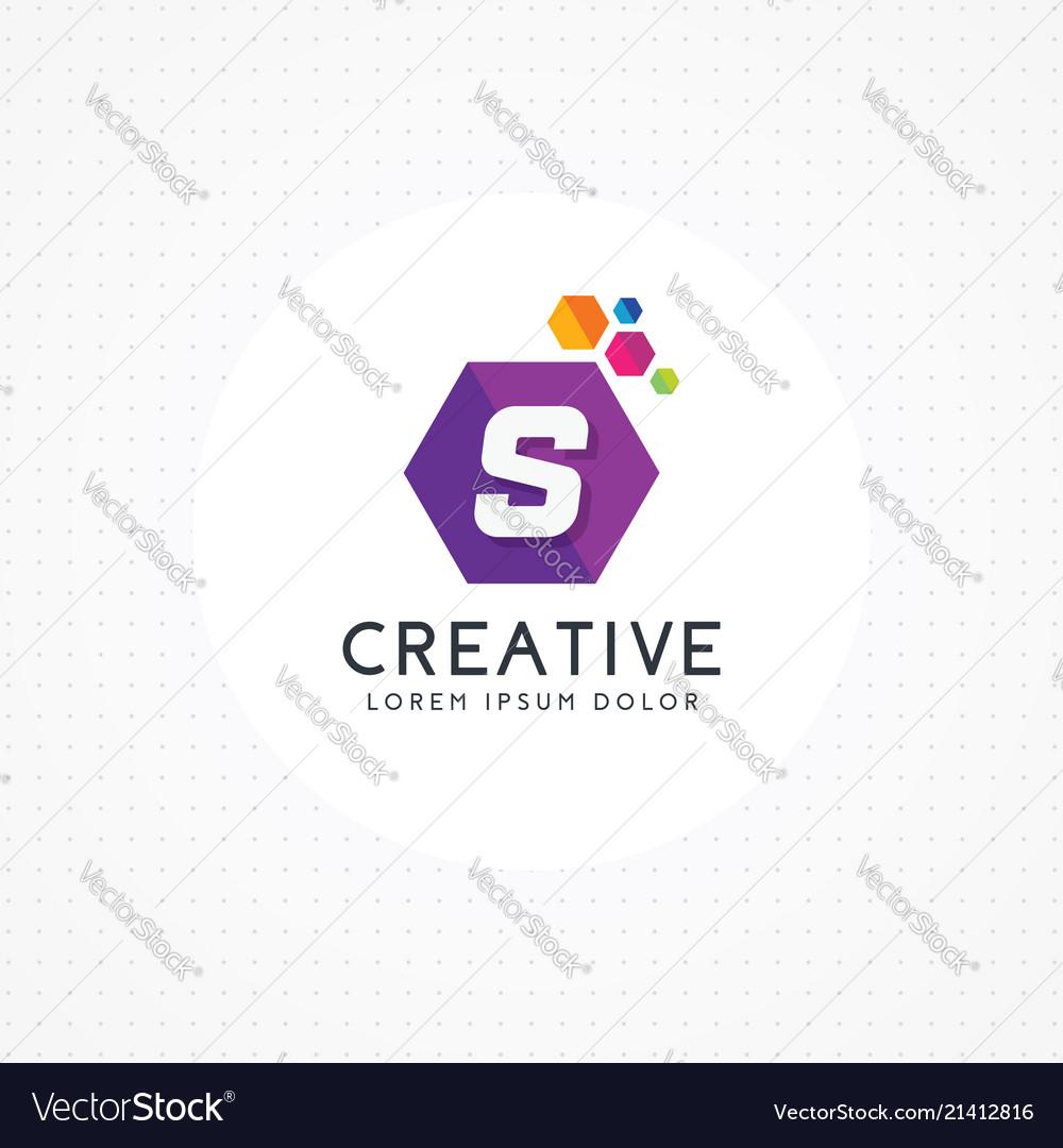 Creative hexagonal letter s logo