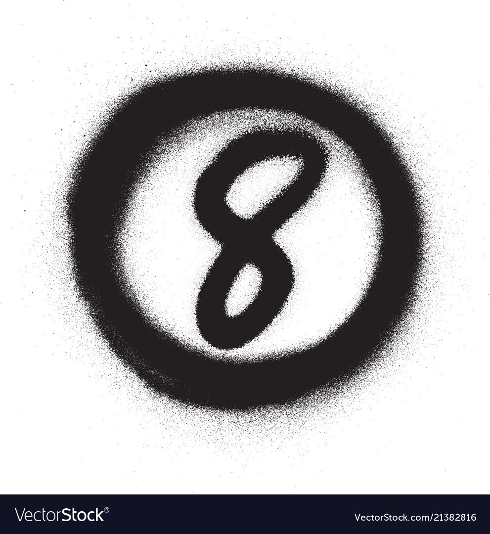 Graffiti number eight 8 in circle sprayed vector image