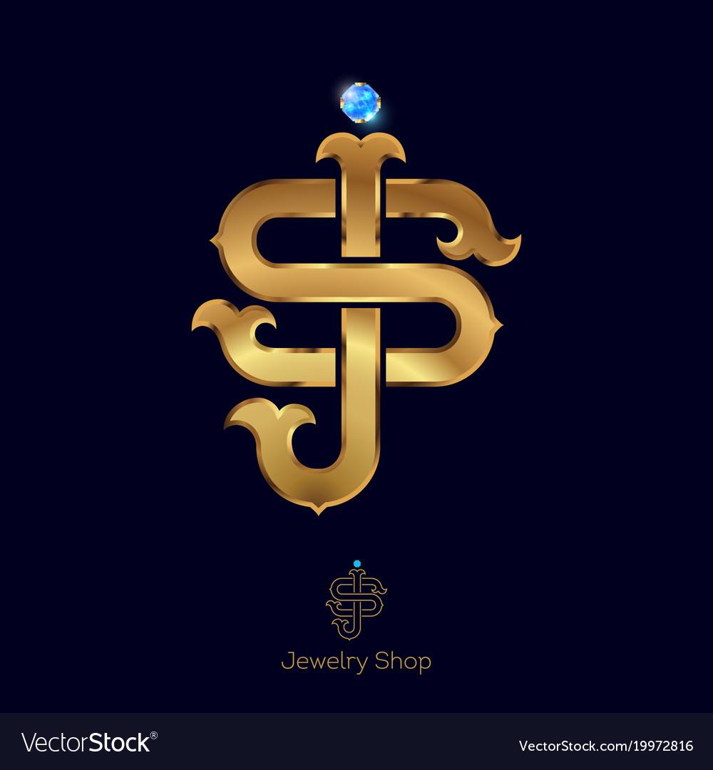 Initials S And J Logo Golden Letters Royalty Free Vector