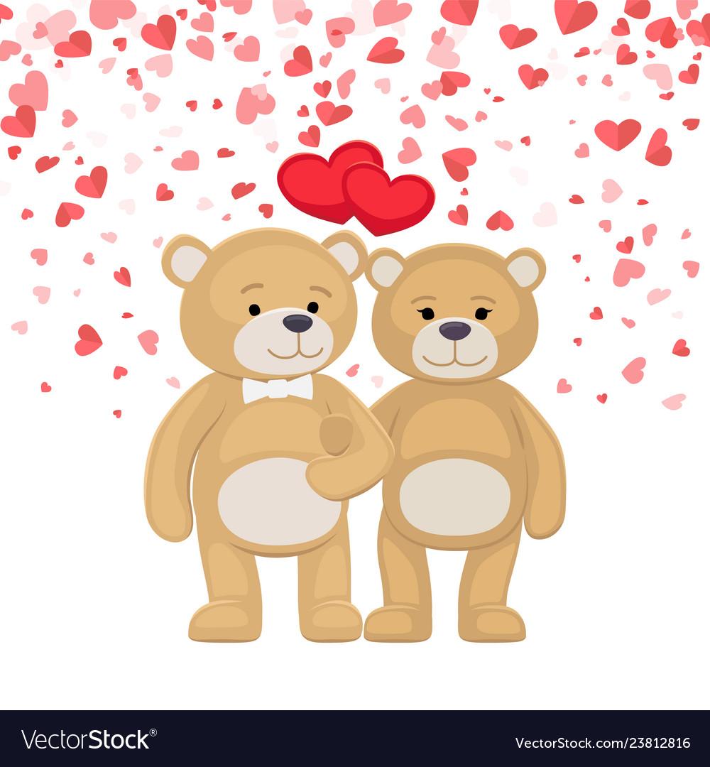 Male female plush toys celebrating valentines day