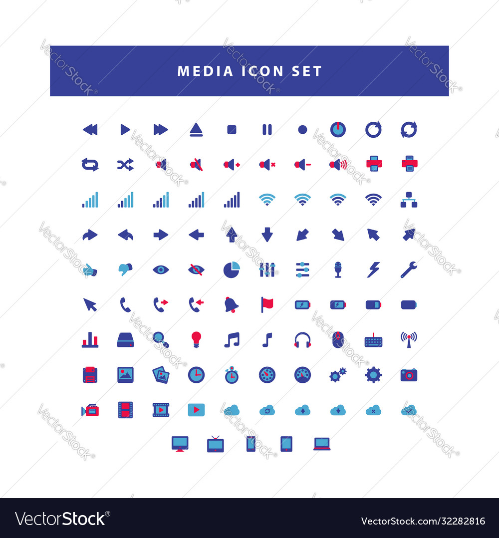 Modern media collection icon set with flat color