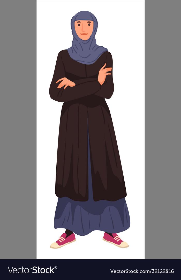 Muslim woman wearing long dress and headscarf