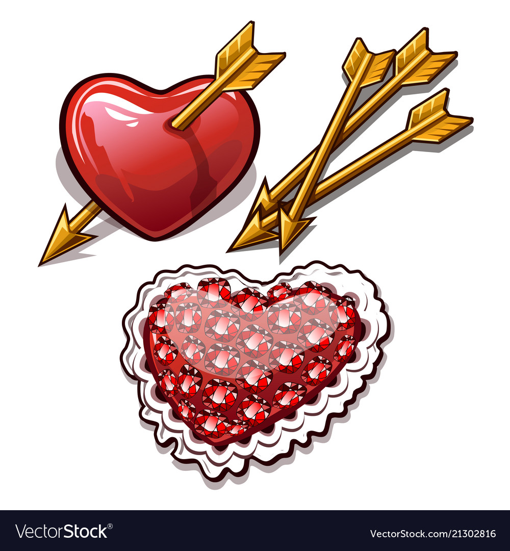 Red heart is permeated with the golden arrow