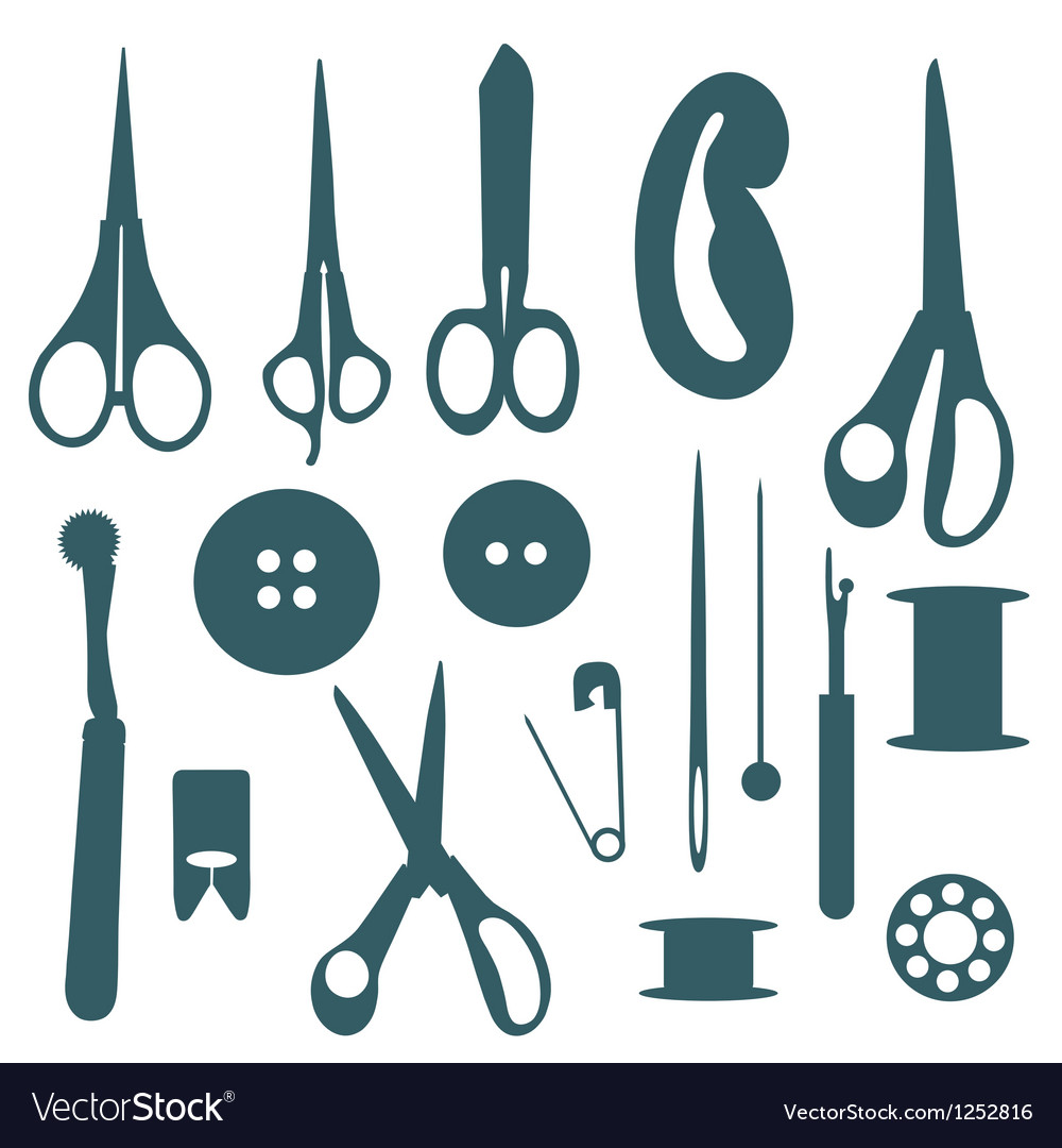 Sewing objects silhouettes set