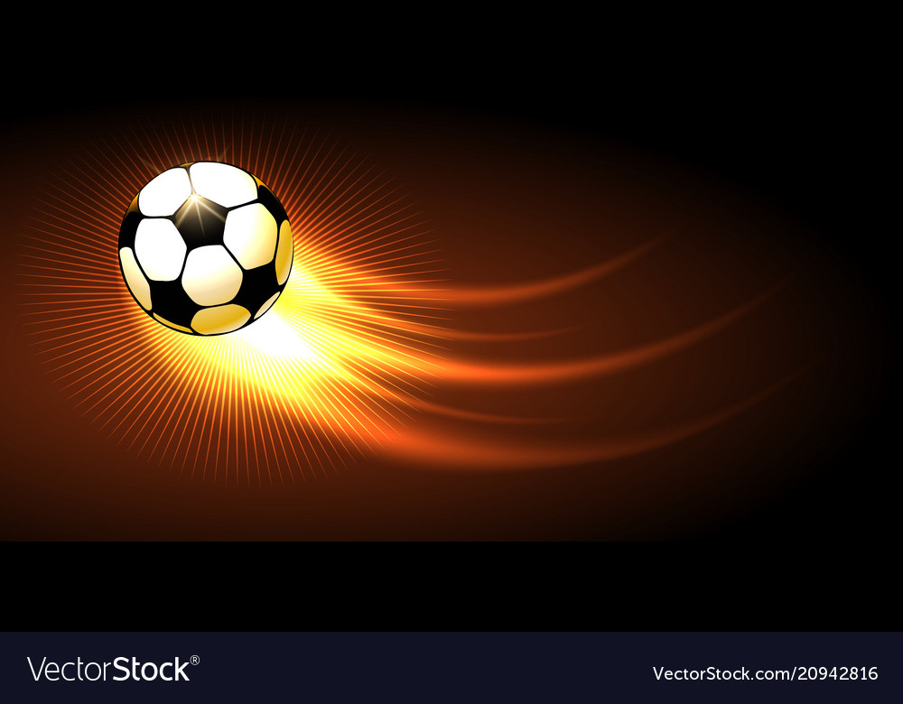 Soccer ball with fire trail