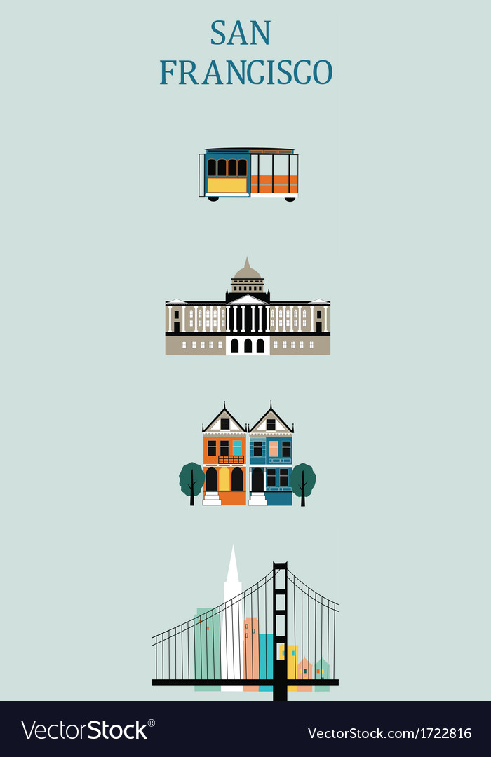 Symbols Of San Francisco Royalty Free Vector Image