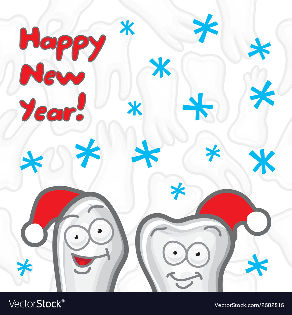 Teeth Happy New Year greeting card Royalty Free Vector Image