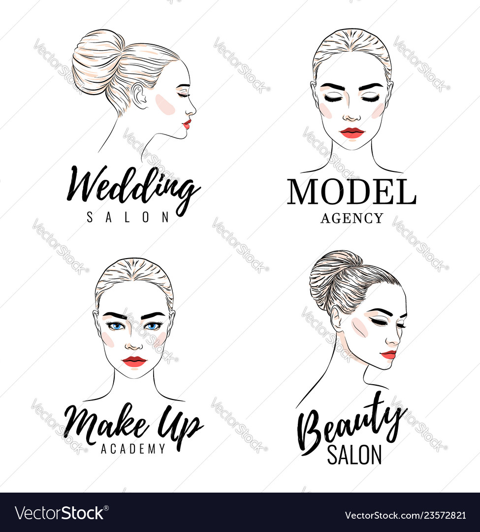 Beautiful woman logo set model academy logo