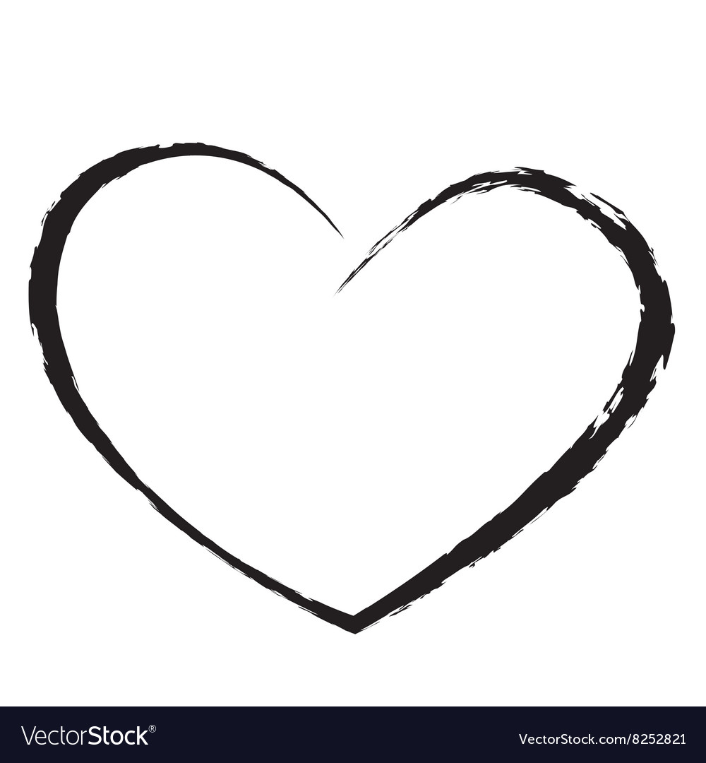 Black heart drawing love valentine vector image
