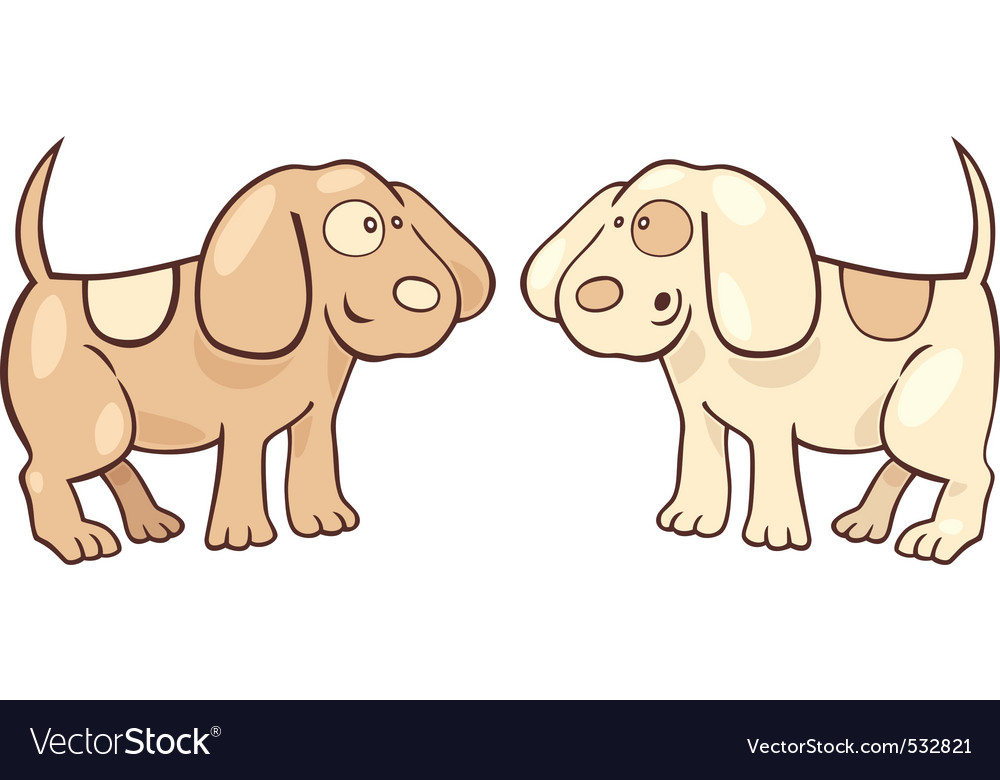 Cartoon illustration of two cute puppies vector image