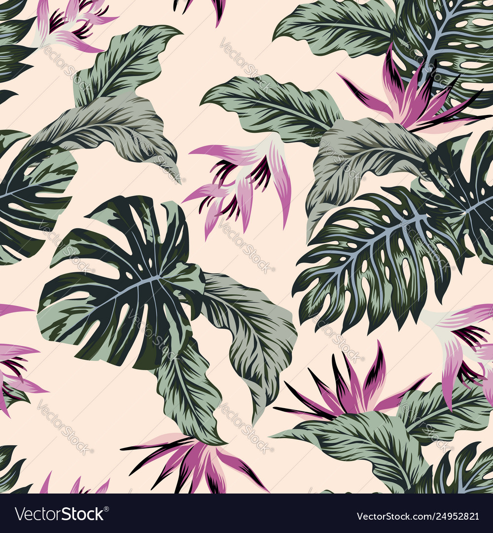 Exotic flowers tropical leaves green seamless