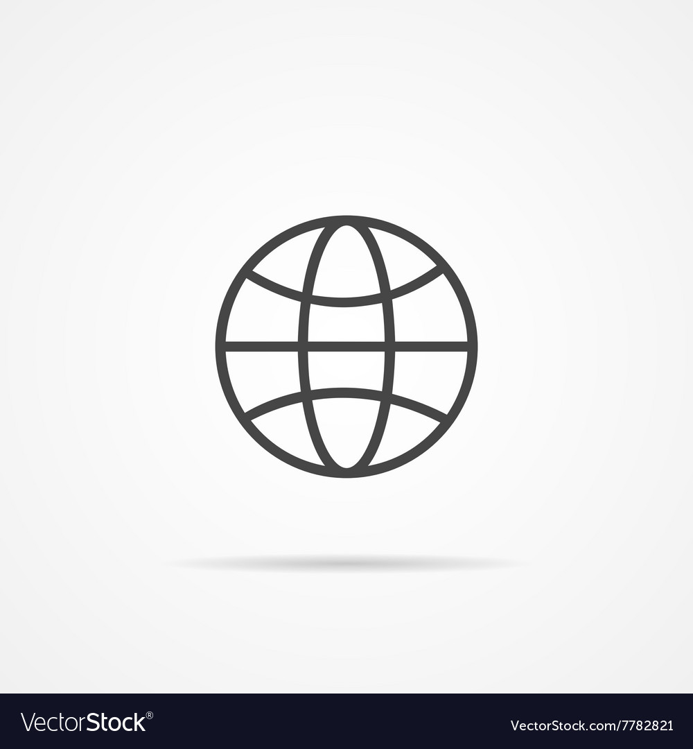 Globe earth flat icon on the grey