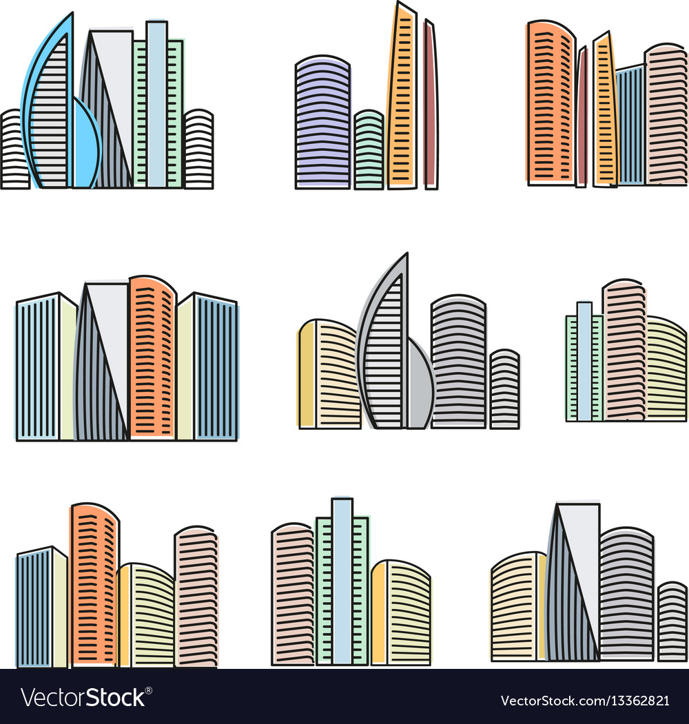 Isolated colorful high buildings icons collection