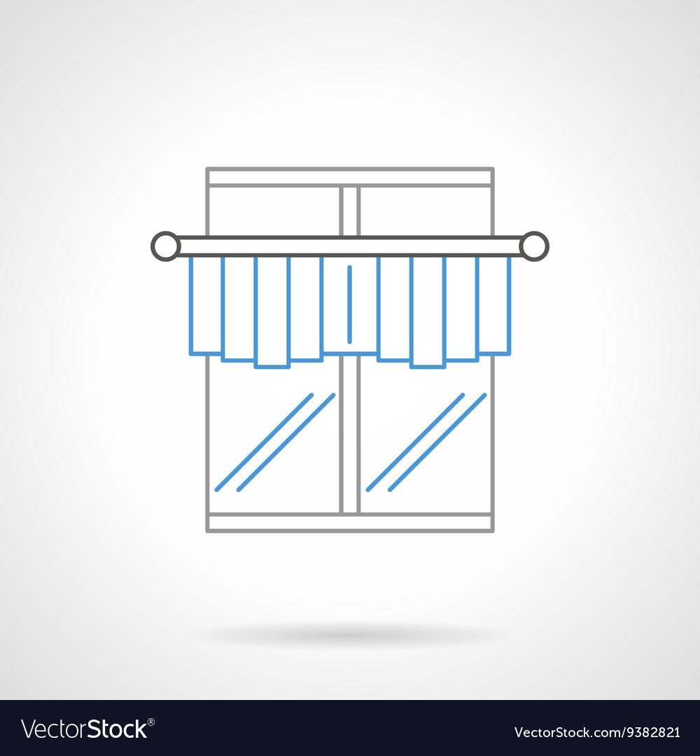 Kitchen curtains flat line icon