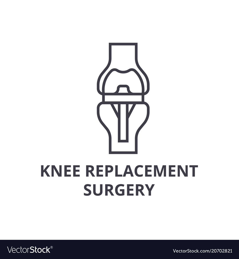Knee replacement surgery thin line icon sig